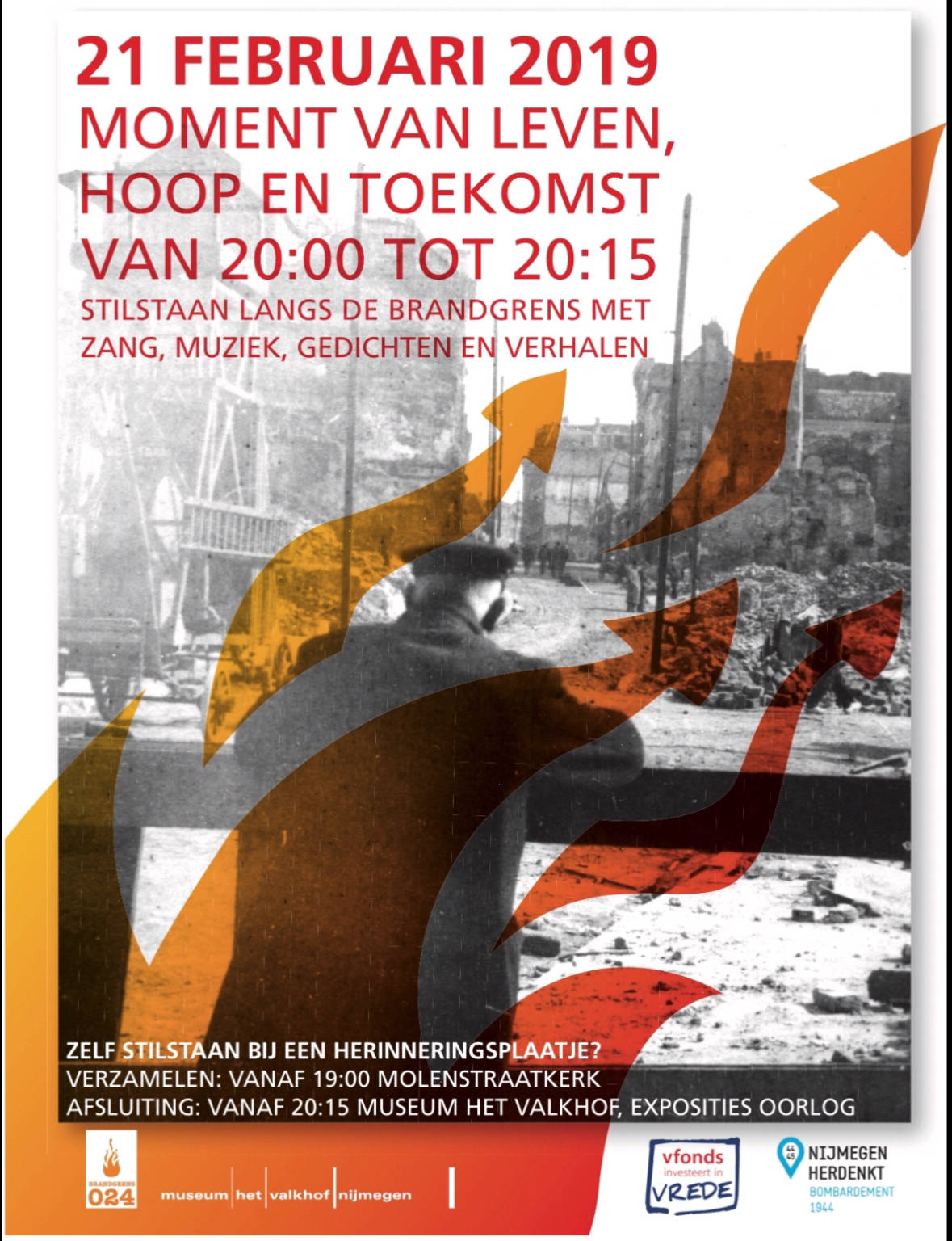 Herdenking van de brandgrens in Nijmegen.