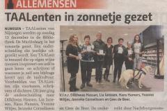 Artikeltje in weekendkrant De Nijmegenaar van 19 december 2015.